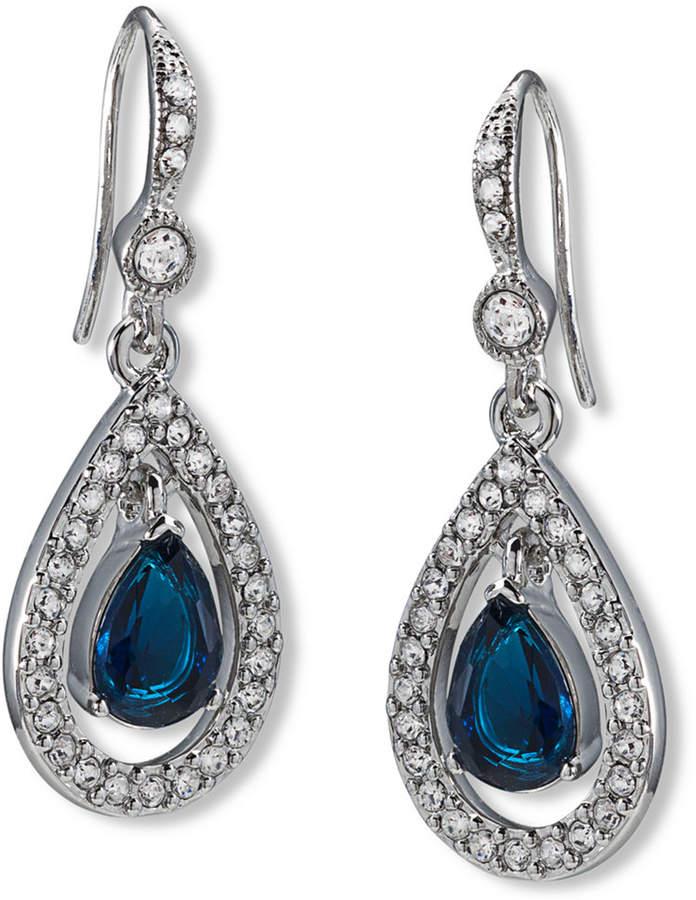 Carolee Earrings, Silver-Tone Pave Stone Drop Earrings