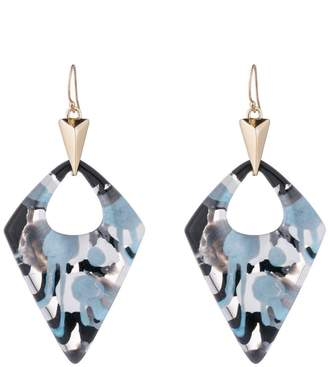 Alexis Bittar Blue with Black & White Petal Lucite Goldtone Dangle Hook Earrings