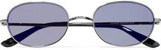 Sunday Somewhere - Wilder Oval-frame Gunmetal-tone Mirrored Sunglasses - Silver