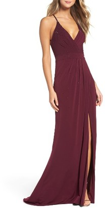 Women's La Femme Studded Pleated Gown $338 thestylecure.com
