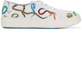 Santoni snake print lace-up sneakers