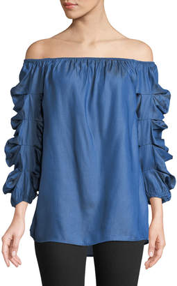 Metric Knits Off-The-Shoulder Shirred-Sleeve Blouse