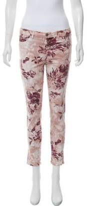 J Brand Mid-Rise Skinny Floral Jeans Pink Mid-Rise Skinny Floral Jeans