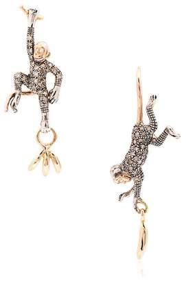 Bibi Van Der Velden 18k rose gold monkey and banana earrings