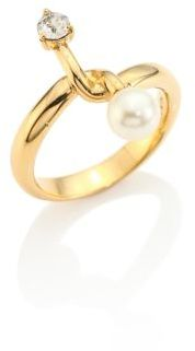 Chloé Chloe Monroe Faux Pearl & Crystal Ring