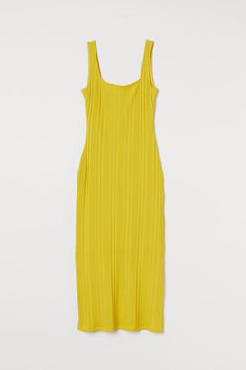 H&M Ribbed Dress - Yellow