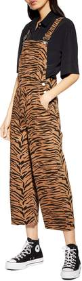 Topshop Tiger Print Wide Leg Raw Hem Cotton Overalls