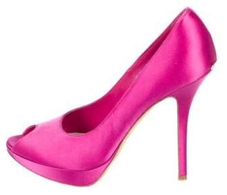 Christian Dior Satin Peep-Toe Pumps