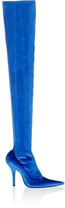 Balenciaga Women's Velvet Over-The-Knee Boots $1,395 thestylecure.com