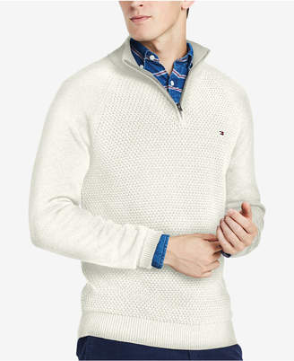 Tommy Hilfiger Men Waffle Knit Quarter-Zip Sweater