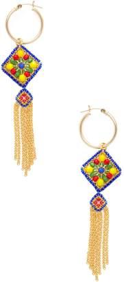 Miguel Ases Women's Geometric Tassel Beaded Statement Earrings