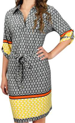 Couture Peach Boho Geometric V Neck 3/4 Sleeves Shift Dress (S, )