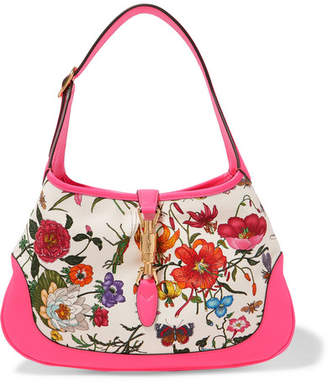 90a5e3548fd Gucci Jackie Hobo Medium Floral-print Canvas And Textured-leather Shoulder  Bag - Pink