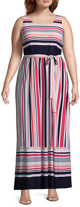 Studio 1 Sleeveless Stripe Maxi Dress - Plus