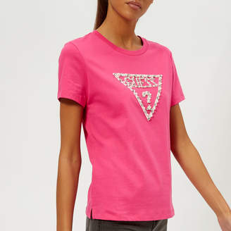 GUESS Women's Short Sleeve Crew Neck Stone and Bead T-Shirt