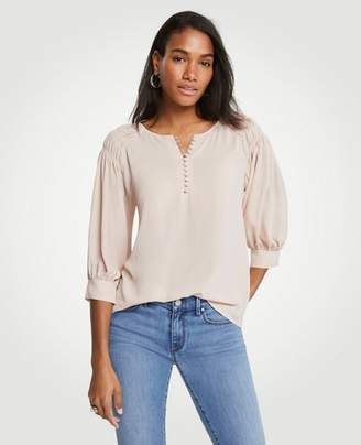 Ann Taylor Tall Smocked Shoulder Blouse