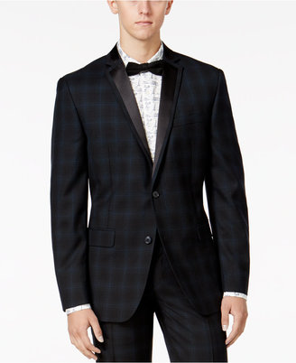 Bar III Men's Slim-Fit Blackwatch Plaid Tuxedo Jacket, Only at Macy's $425 thestylecure.com