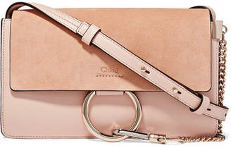 Chloé Faye Small Leather And Suede Shoulder Bag - Pink