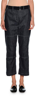 Giorgio Armani Belted Denim Cropped Utility Pants, Indigo Blue