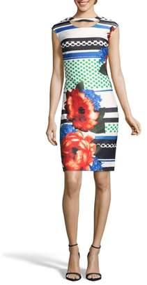 ECI Placement Print Sheath Dress