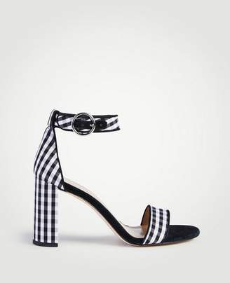 Ann Taylor Leannette Piped Gingham Block Heel Sandals