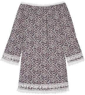 Miguelina Tammy Crochet-trimmed Floral-print Cotton-voile Mini Dress