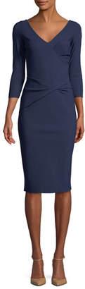 Chiara Boni Naktis Twist-Waist 3/4-Sleeve Cocktail Dress