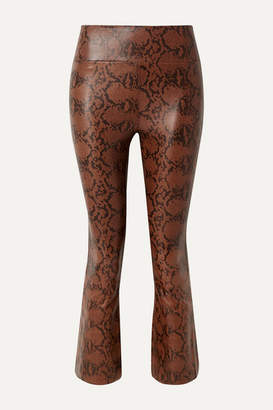 Sprwmn Cropped Snake-effect Leather Flared Pants - Snake print