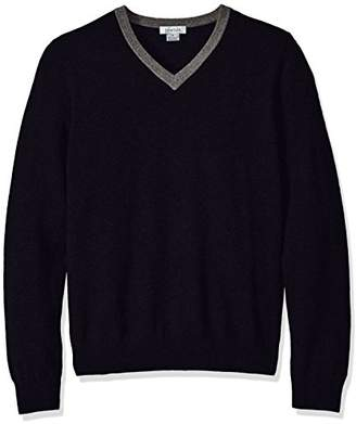 Phenix Cashmere Men's 100% V-Neck Sweater Contrast Collar Elbow Patches