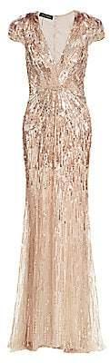 Jenny Packham Women's Beaded Sequin Cap-Sleeve Gown