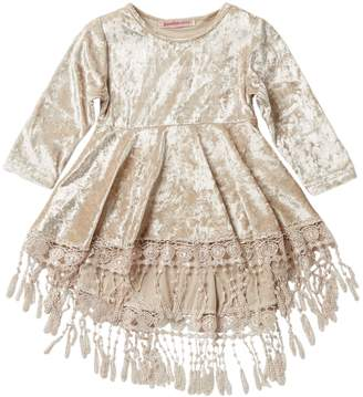 Paulinie Velvet Lace Trim Dress (Baby & Toddler Girls)