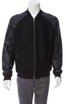 Vince Leather-Trimmed Wool Bomber Jacket