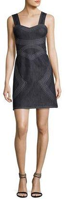 Derek Lam 10 Crosby Sleeveless Geometric Chambray Sheath Dress, Indigo $425 thestylecure.com