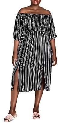 City Chic Plus Stripe Play Off-the-Shoulder Midi Dress
