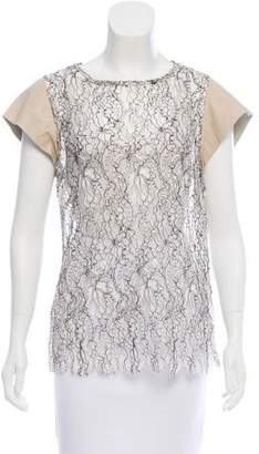 Ellery Lace Leather-Accented Top