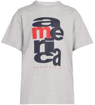 Perry Ellis Logo Print Cotton T Shirt - Mens - Grey