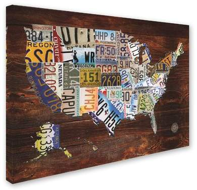 Trademark Art 'USA License Plate Map on Wood' Graphic Art Print on Canvas