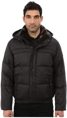 Andrew Marc Fauxmula Down Filled Bomber w/ Faux Fur Trimmed Collar and Removable Hood Men's Coat
