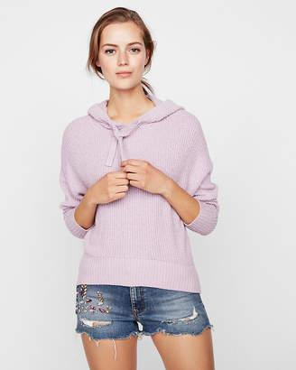 Express Ribbed Hi-Lo Hem Hooded Sweater