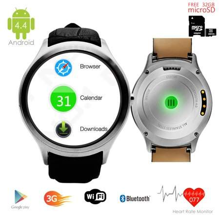 Indigi Android 4.4 SmartWatch and Phone (3G Factory Unlocked) + Built-In Camera + Google Maps w/ 32gb microSD Included