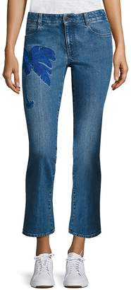 Peserico Women's Embroidered Skinny Kick Flare Jeans - Blue, Size 26 (2-4)