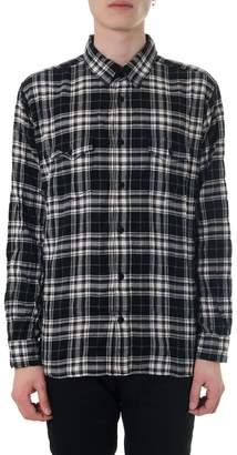 Saint Laurent Crumple Effect Black & White Checked Shirt
