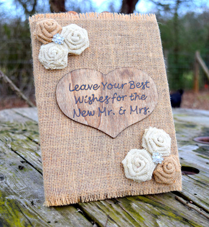 Etsy Burlap Guest Book – Wedding Guest Book – Advice for Bride and Groom – Rustic Wedding – Bridal Shower
