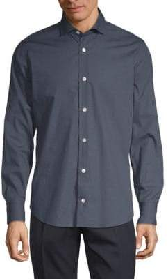 Eleventy Dotted Cotton Button-Down Shirt