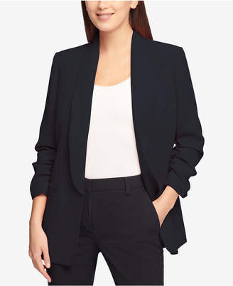 DKNY Ruched-Sleeve One-Button Blazer, Created for Macy's