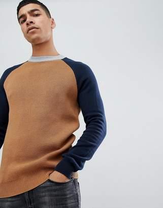 Jack Wills Melbury raglan sleeve crew neck sweater in camel/navy