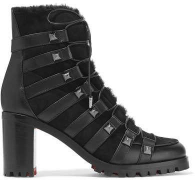 Christian Louboutin - Chaletta 70 Studded Shearling And Leather Boots - Black