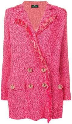 Elisabetta Franchi double breasted frayed blazer