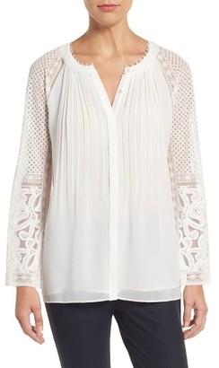 Women's Kobi Halperin Daniela Lace Sleeve Silk Blouse $398 thestylecure.com