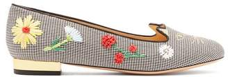 Charlotte Olympia Kitty Floral Embroidered Gingham Flats - Womens - Black White